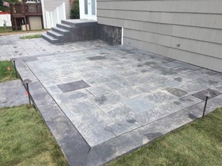 Custom Stamp Concrete Patio & Stairs - Cranston, RI