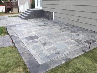 Custom Stamp Concrete Patio & Stairs - Cranston, RI